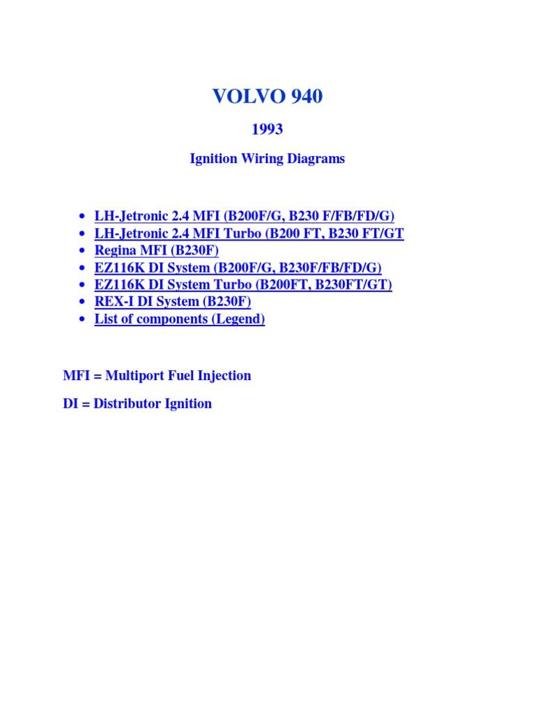 volvo cruise control diagram volvo 940 1993 ignition wiring diagrams switch thermostat  volvo 940 1993 ignition wiring