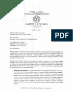 Garnet Coleman Letter