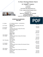 Schedule of Divine Services - May, 2011