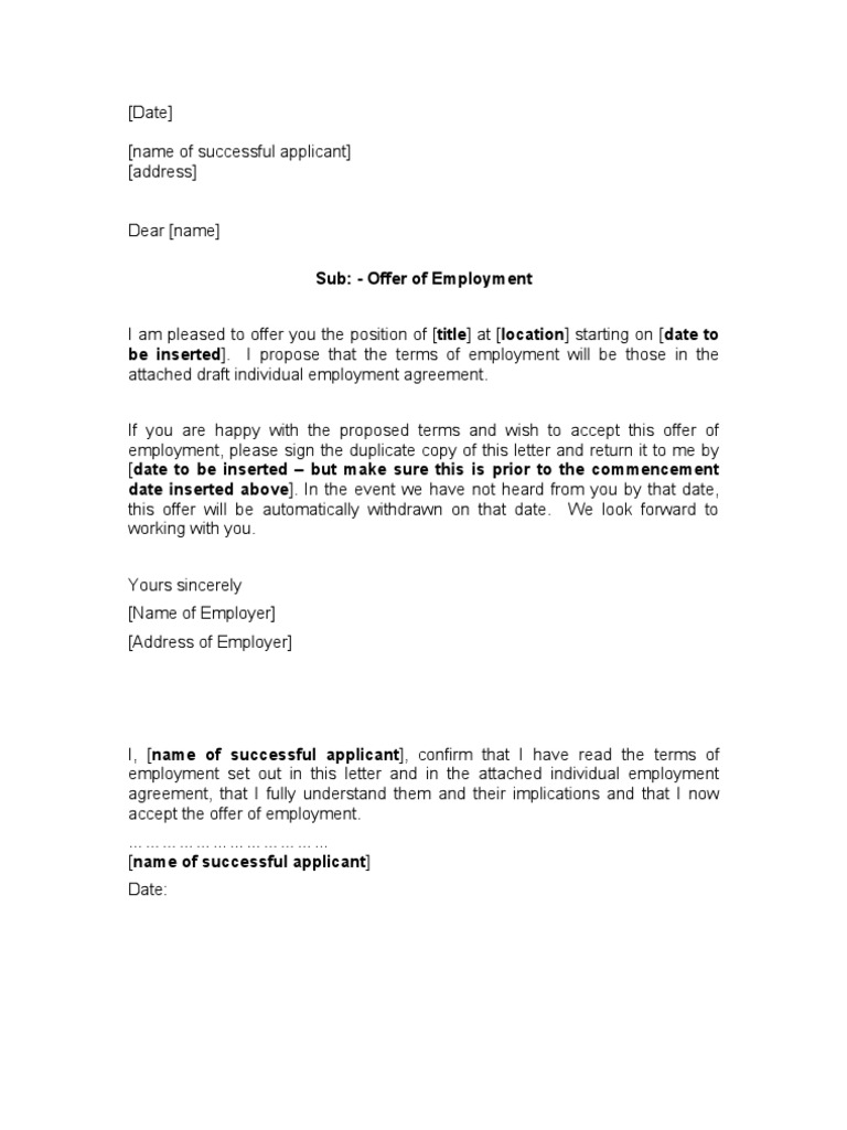 Joining Letter Sample 485 – Individual Employment Agreement