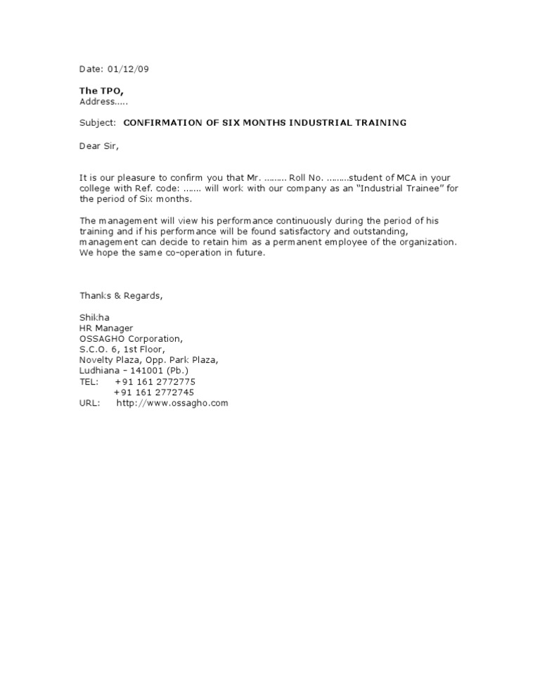 Project Confirmation Letter Format From Company.  Trainee Confirmation Letter