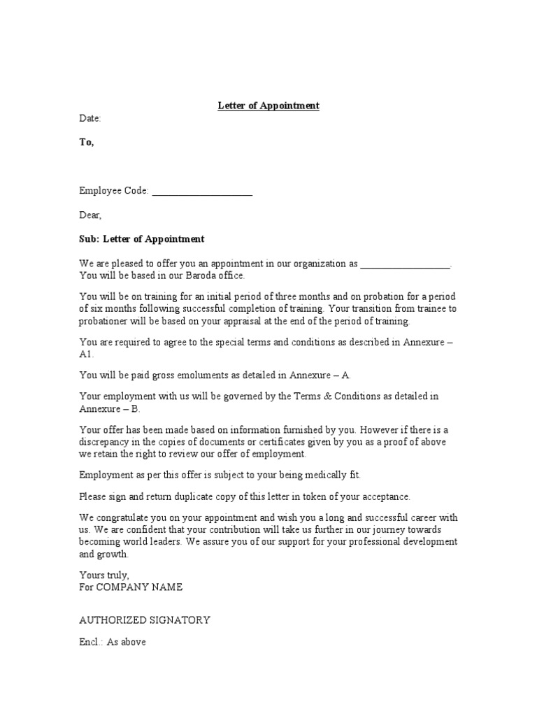 Appointment Letter With Bond Blank 110 Contractual Term