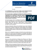 Nota de Prensa SESCAM II Semana de La Salud de Tomelloso