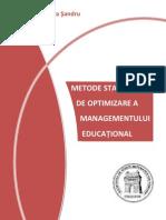 Metode statistice de optimizare a managementului educational, de Mariana Sandru