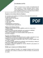 La Reforma Liberal en Honduras