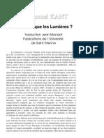 Kant - Qu' Est Ce Que Les Lumieres