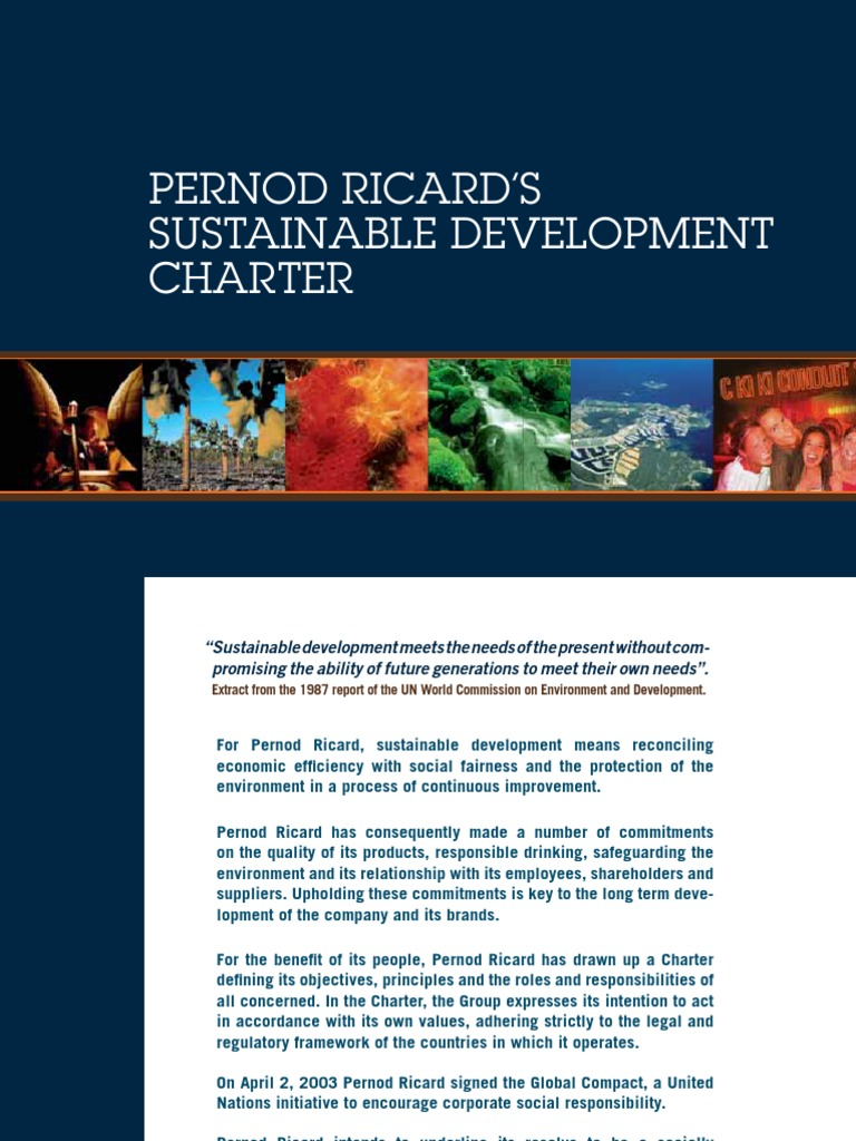 Pernod Ricard Sustainable Development Charter | Sustainable