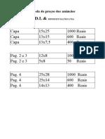 Tabela de Preços Jornal