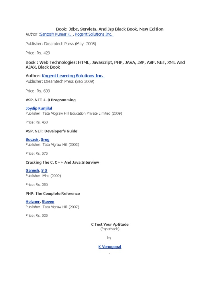 Black Book Of Java By Santosh Kumar Pdf