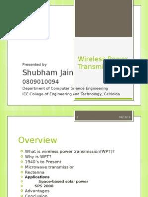 Wireless Power Transmission Ppt | Microwave | Wireless