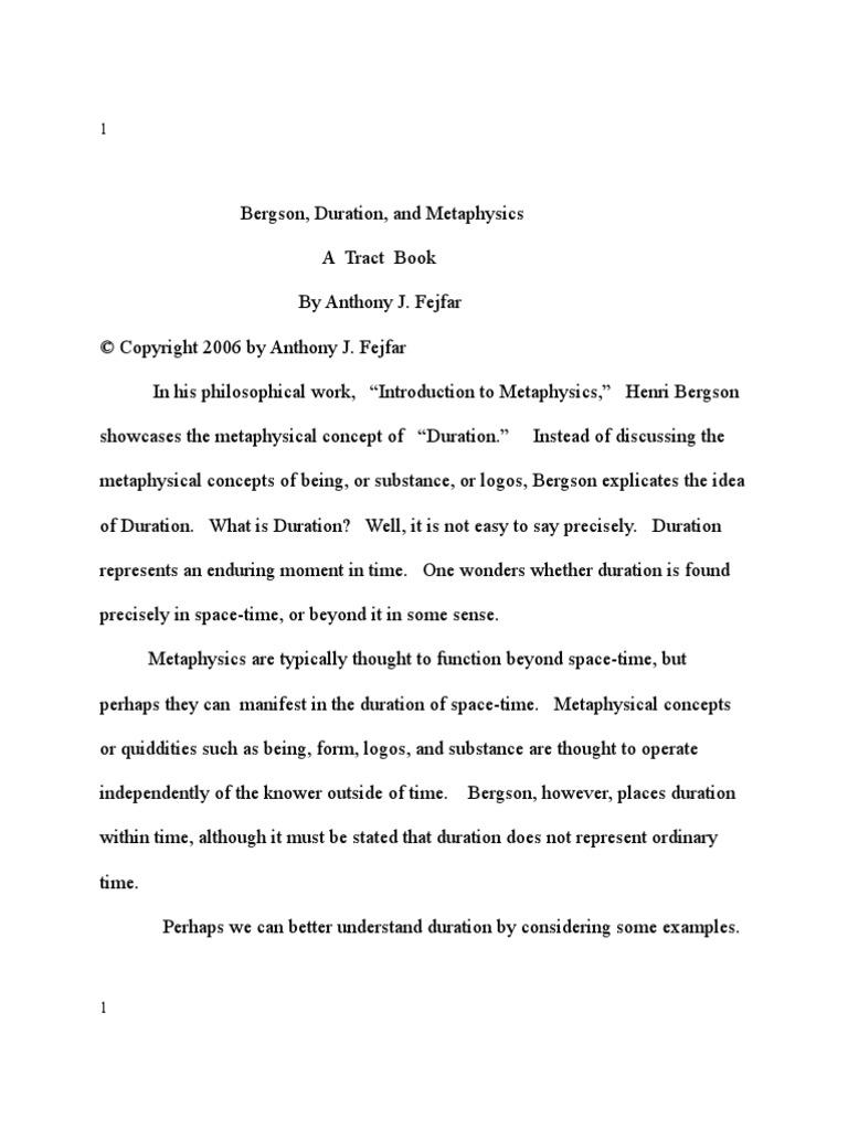Bergson Duration And Metaphysics Henri Bergson Metaphysics