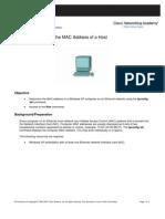 Lab 3.3.3.2 Find Mac Address