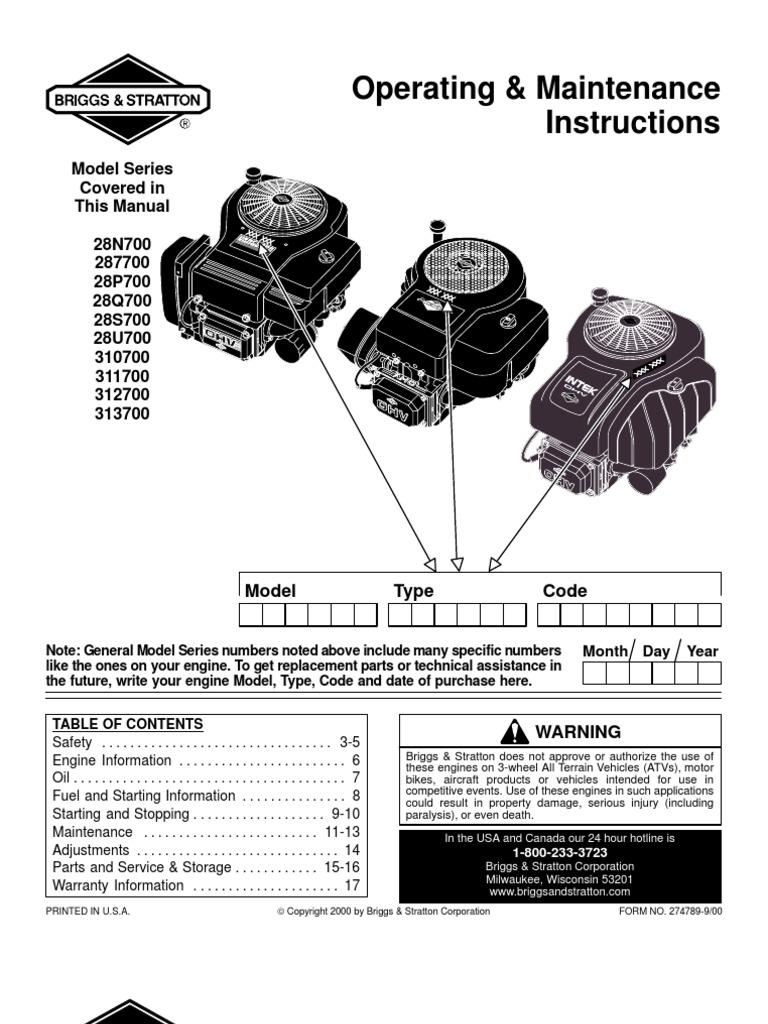 free repair service manual briggs and stratton model 280000