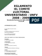 Reglamento COMITÉ ELECTORAL UNIVERSITARIO - UNFV, 2008 - 2009