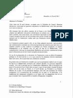 Lettre de José Manuel Barroso à l'Italie et à la France, 1er mai 2011