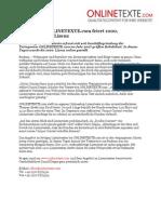 www.onlinetexte.com - Pressemeldung 2011-17 - Textservice ONLINETEXTE.com feiert 1000. verkaufsfertige Lizenz