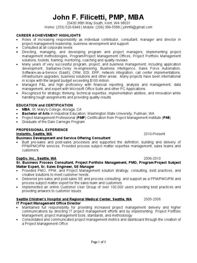 John Resume Project Management Consultant