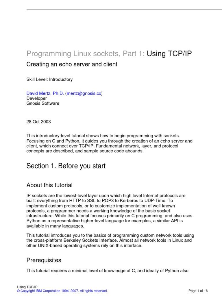 Programming Linux Sockets Part 1 Using Tcpip | Network