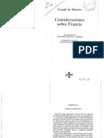 De Maistre. Consideraciones Sobre Francia. (Cap 1, 2, 3 , 5