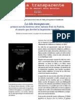 """Manuel Mora Morales. Sobre la novela histórica """"La isla transparente"""", una reflexión."""