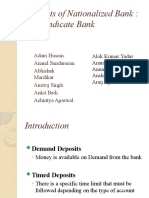 Deposits of Nationalized Banks - Syndicate Bank