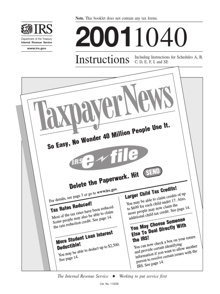 Us Internal Revenue Service I1040 2001 Irs Tax Forms Income
