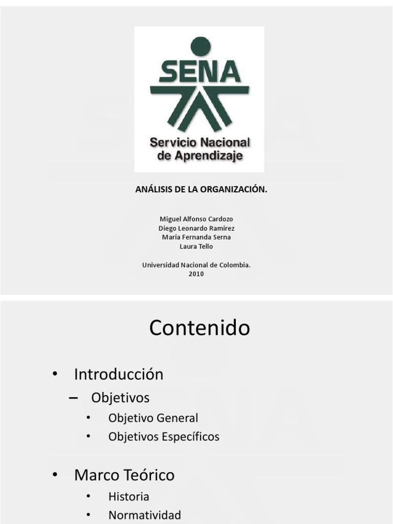 El SENA (Servicio Nacional de Aprendizaje)  Análisis de la Organización 68b53b154982