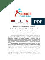 Plataforma Con Bases Politicas y Declaración de Principios. Frente Juntos Por La Ciudad