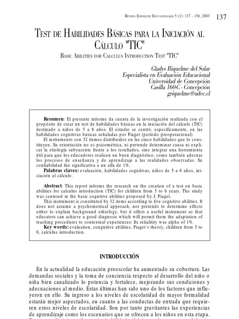 Test Habilidades Básicas Iniciacion CálculoTIC