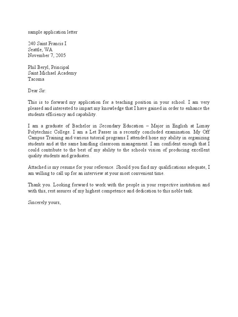 sample application letter - Different Format Of Application Letter