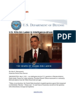 US Department of Defense on Osama Bin Laden Operation