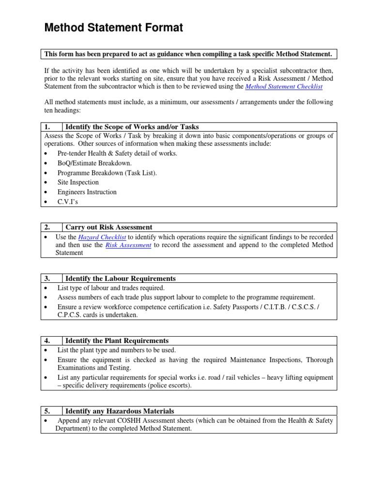 Method Statement Format Work Method Statement Format – Health and Safety Method Statement Template