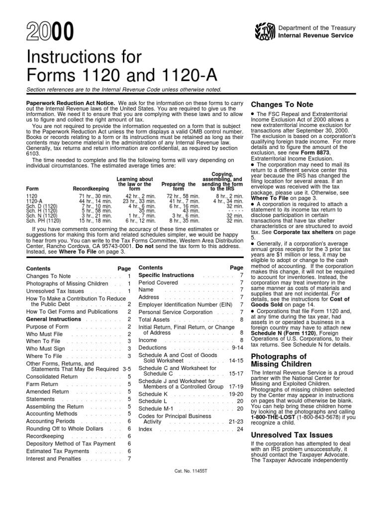 Us Internal Revenue Service I1120 A 2000 Irs Tax Forms Income