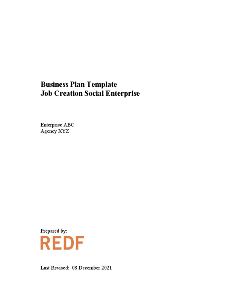 Redf Social Enterprise Business Plan Template Business Plan