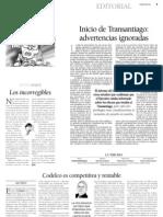 7 31  La Tercera - Editorial - Inicio del Transantiago-Advertencias ignoradas