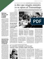 8 29  La Tercera - Espejo dice que ningún ministro político se opuso al Transantiago