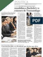 10 3   La Tercera - Ravinet responsabiliza a Bachelet y a Lagos por decisiones de Transantiago
