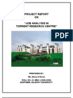 Job Analysis in Torrent Research Centre by Dhara