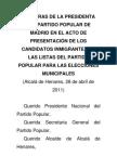 Palabras de la presidenta del Partido Popular de Madrid en el acto de presentación de los candidatos inmigrantes a las listas del Partido Popular