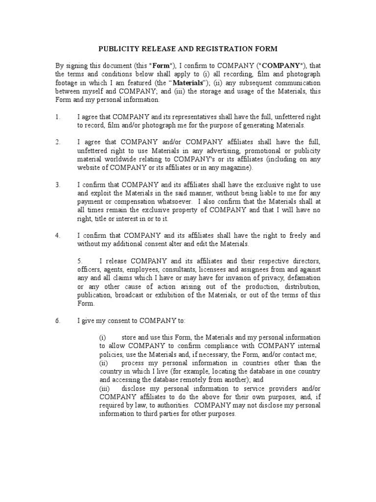 Template Publicity Release – Publicity Release Form
