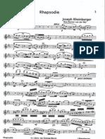Rheinberger Josef Gabriel, Rhapsodie (clarinet)