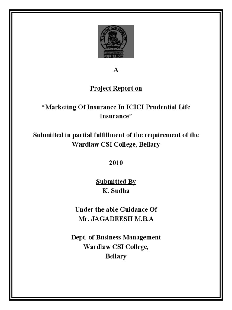 A Project Report on ICICI Prudential Life Insurance