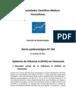 Alerta Epidemiologica 183.  Red de Sociedades Científicas Medicas de Venezuela. Situación de Influenza en Venezuela