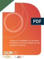 Groupe de consultation sur la culture numérique du Forum canadien sur les politiques d'Internet