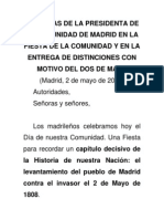 Palabras de la Presidenta de la Comunidad de Madrid en la entrega de distinciones con motico del Dos de Mayo