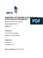 Implication of Psychology in Human Resource Management