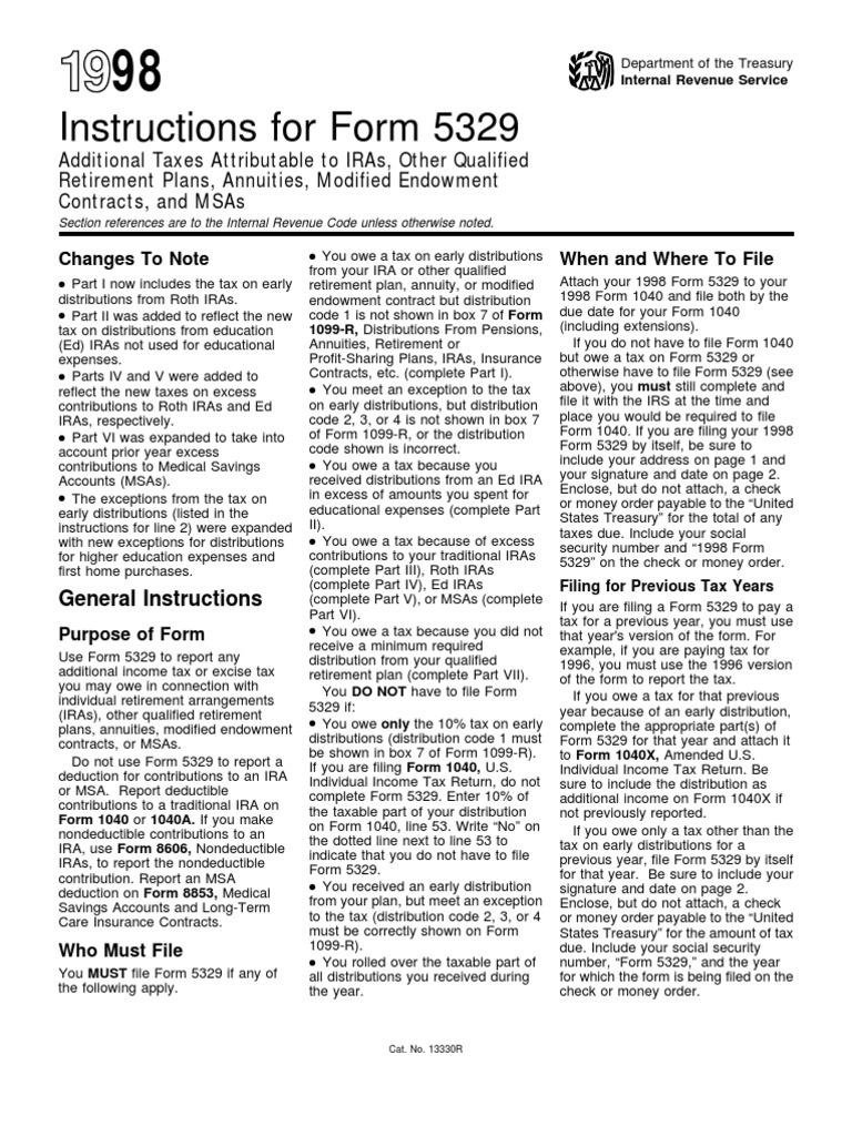US Internal Revenue Service: i5329--1998 | Individual Retirement ...