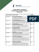 Course Lists- FIU EMBA