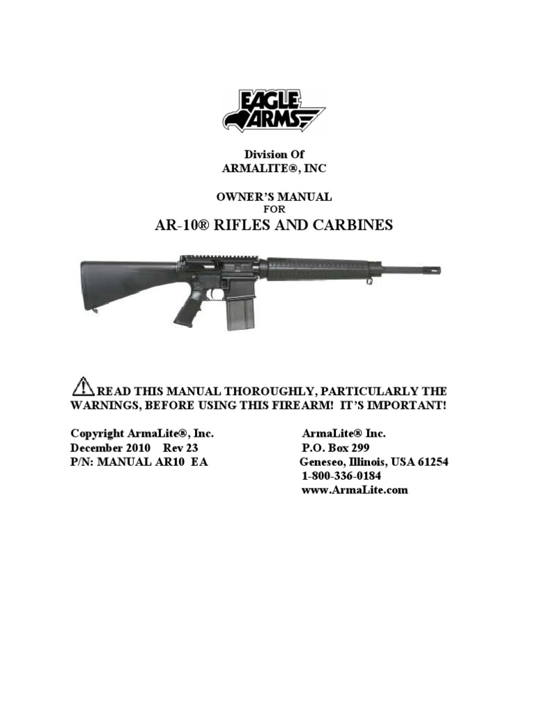 eagle ar10 firearm manual cartridge firearms firearms rh scribd com  armalite ar-50 owners manual