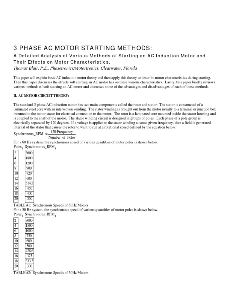 Starting Methods Of 3 Phase Induction Motors Series And Parallel Ac Motor Circuit Circuits Alternating Current